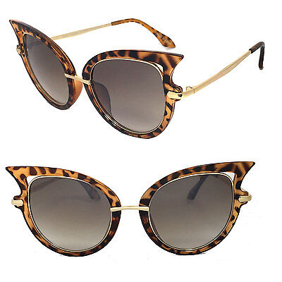 Women Fashion Large Sexy Cat Eye Sunglasses Brown Tortoise Frame Gold Metal Arm