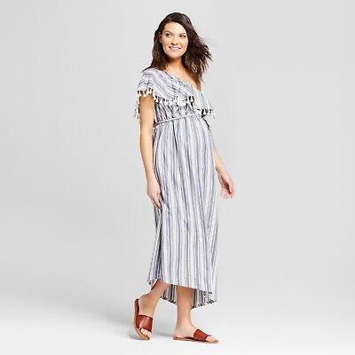 One Shoulder Maternity Dress (Ingrid & Isabel Maternity One Shoulder Dress - Blue Stripe LARGE XL XXL #MA12 )