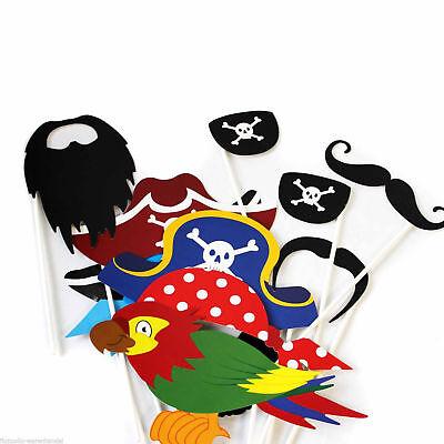 12 Piraten Foto Verkleidung auf Stick Piratenparty Kinder Masken Party Fasching (Stick Auf Masken)