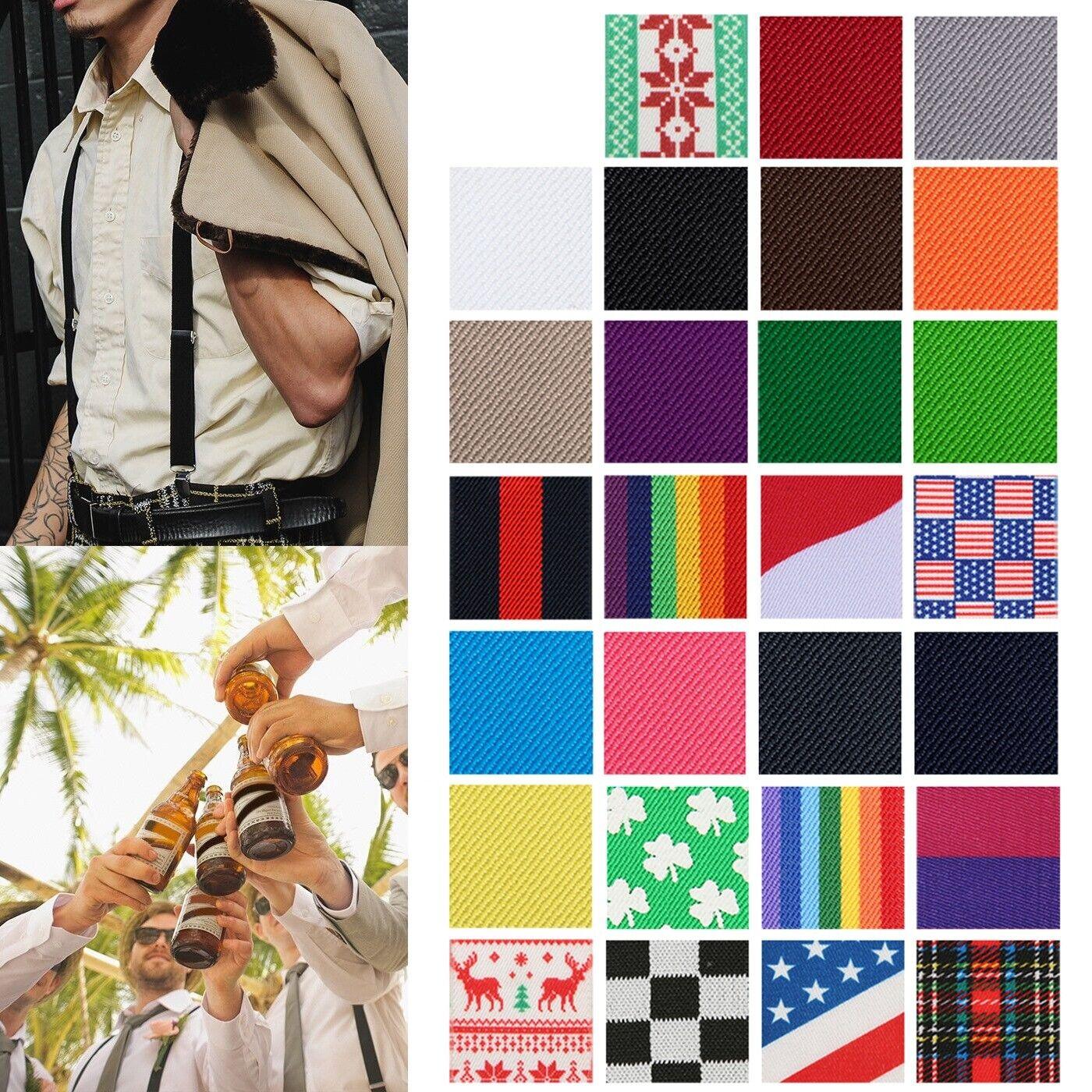 Mens Solid Color Regular X-Back Clip On Suspenders Adjustabl