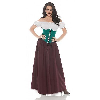 Renaissance Bar Maid Womens Adult Green Burgundy Halloween Costume](Halloween Bar Maid Costume)