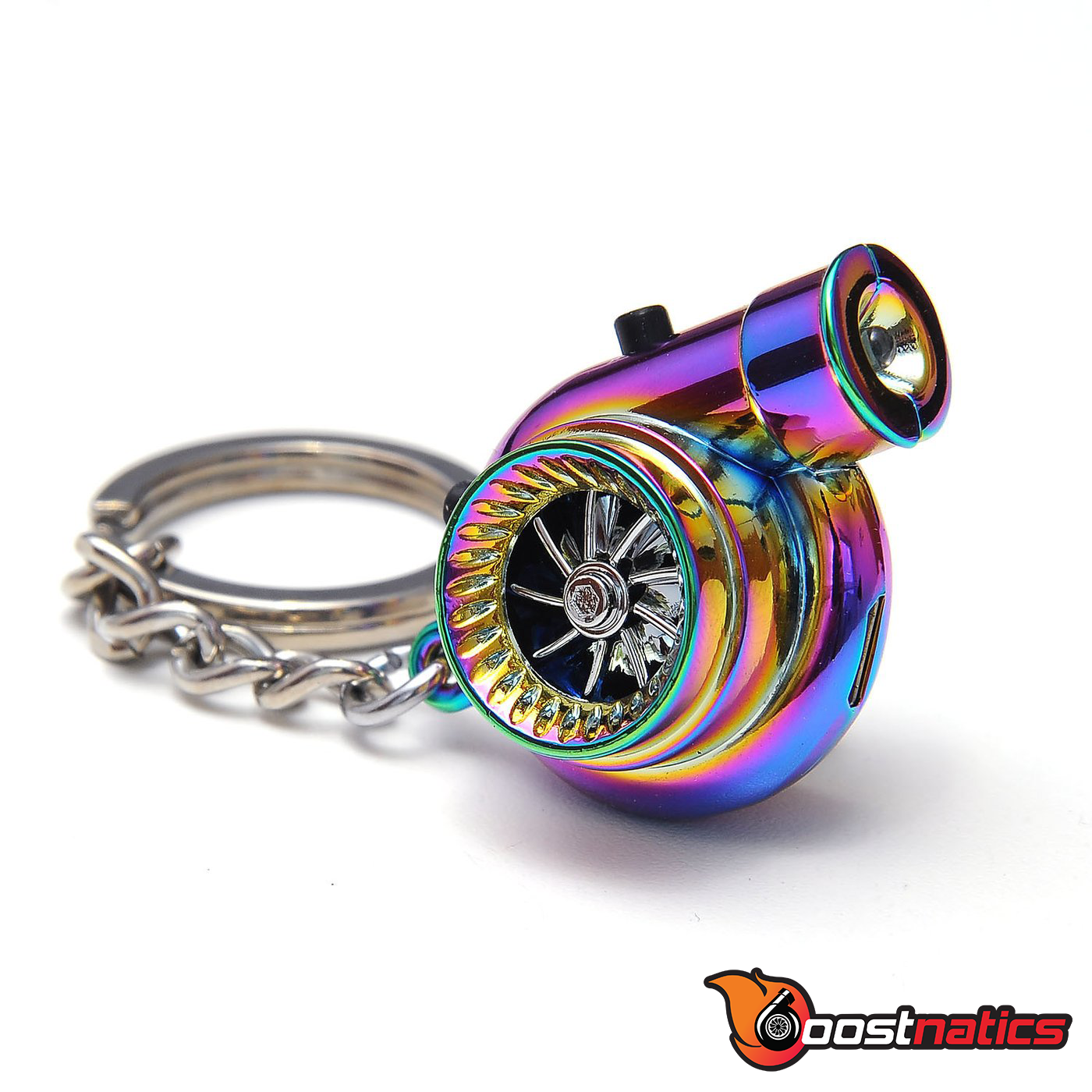 Boostnatics Rechargeable Electric Turbo Keychain Keyring w/ Sounds & LED - Neo