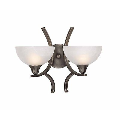 2 Light Wall Sconce Brushed Steel Entry Hall Bathroom Triarch -