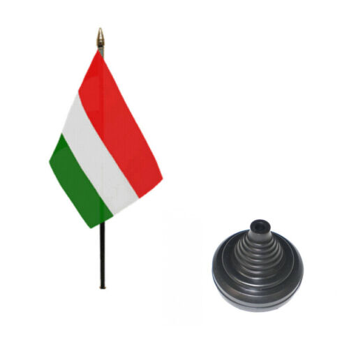 "12 Pack Hungary 6"" x 4"" Desk Table Flag with Black Plastic Cone Bases"