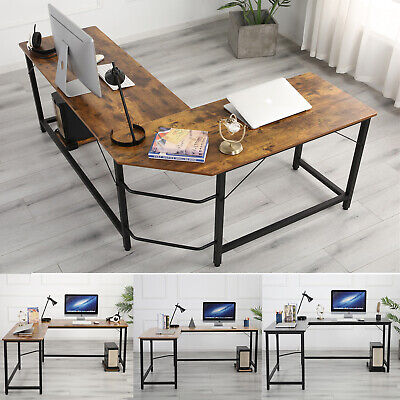 L Shaped Computer Desk Large Corner Gaming Office Writing Pc Table Steel Wood