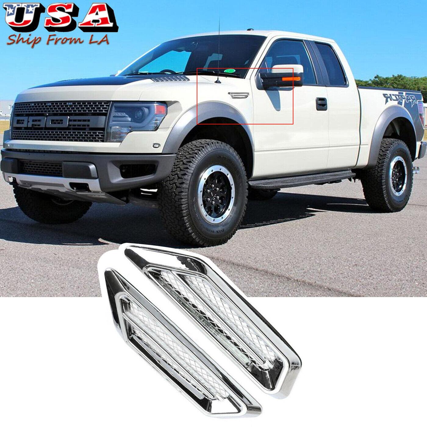 2x Chrome Car SUV Truck Bumper Fender Air Flow Vent Decor Interior Exterior Trim