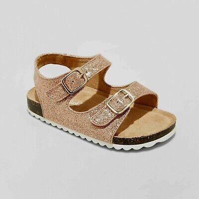Cat & Jack Girl's Tisha Rose Gold Glitter Footbed Sandals Size 8 (Rose Gold Cat)