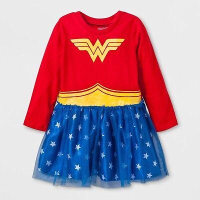 NWT Wonder Woman Girls' Costume Tutu Dress with Long Sleeves, 24 M Red DC Comics - Wonder Woman With Tutu