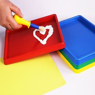Paint & Inking Large Coloured Plastic Art Mixing Tray for Kids Painting 4 Pack