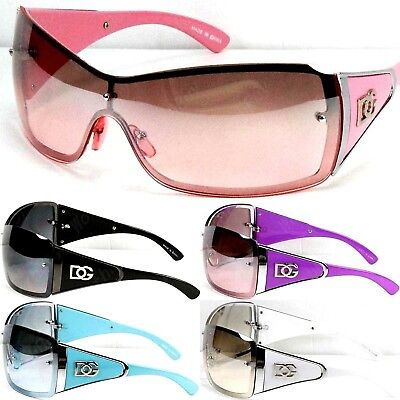DG Eyewear Womens Large Oversized Shield Wrap Sunglasses Designer Fashion Shades