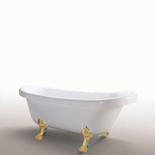 "67"" Freestanding white bathtub vintage clawfoot tub with gold feet Margherita"