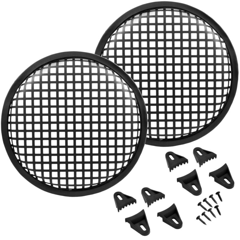 8 Inch Durable Metal Mesh Speaker Subwoofer Grill Waffle Cover w/ Cips - 2 Pack
