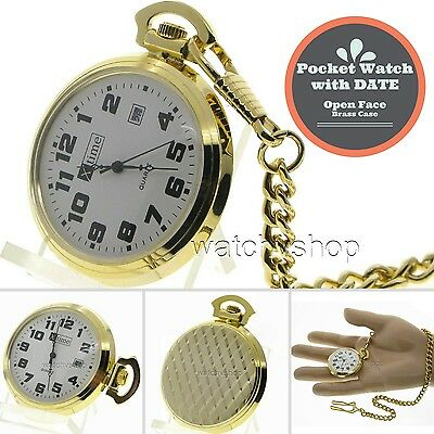 Gold Antique Men with DATE Quartz Pocket Watch Gift Brass Case + Fob Chain P31 Brass Quartz Pocket Watch