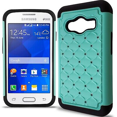 For Samsung Galaxy Ace NXT Case - Teal/Black Hybrid Diamond Bling Skin Cover for sale  Shipping to India