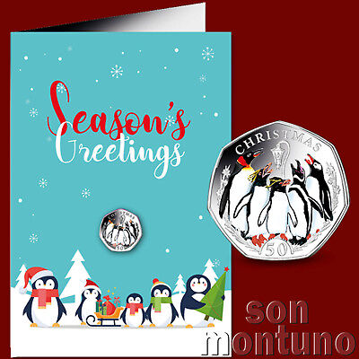 2017 FALKLANDS CHRISTMAS PENGUIN 50P COLORIZED CUPRO NICKEL DIAMOND FINISH COIN