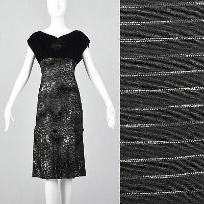 - M 1950s Black Dress Velvet Bodice Silver Metallic Stripes Cocktail Party LBD 50s