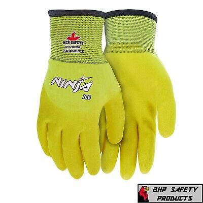 Mcr Memphis Ninja Ice Hi-vis Insulated Winter Weather Safety Work Gloves 1pr