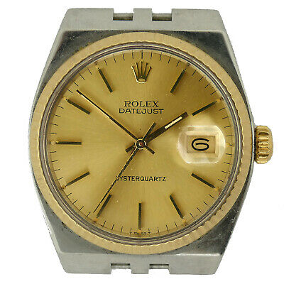ROLEX DATEJUST OYSTERQUARTZ 17013 GOLD DIAL 1983 S.S. WATCH HEAD FOR PART/REPAIR