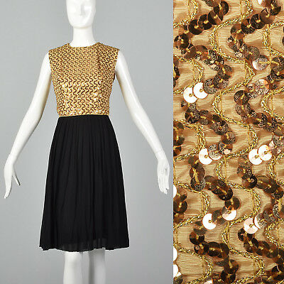 S 1960s Sleeveless Party Dress Gold Sequin Bodice Black Pleated Skirt Cocktail](1960 Party Clothes)