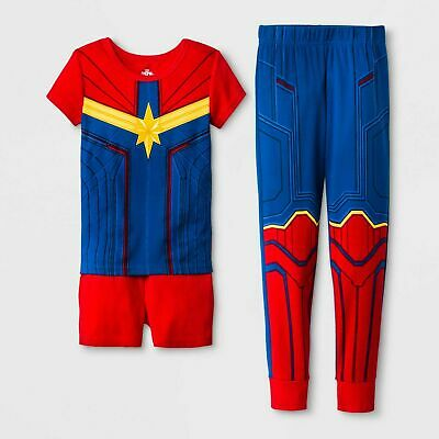 Matching Costumes For Kids (2 Girls' Captain Marvel costume 3pc Pajama Set  Blue/Red size4 perfect for twin)