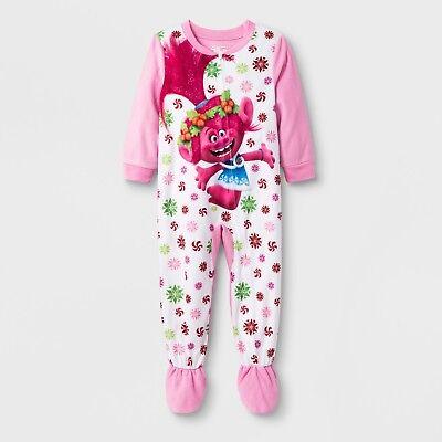 Toddler Girls Poppy Trolls Blanket Sleeper Union Suit Christmas/Holiday Pajamas (Holiday Toddler Pajamas)