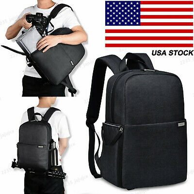 Black SLR Camera Bag Backpack Case For Canon Nikon Sony Leica Pentax Fujifilm