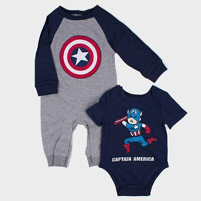Baby Boys' Marvel Captain America 2pk Long Sleeve Romper & Short Sleeve Bodysuit Boys Short Sleeve Romper
