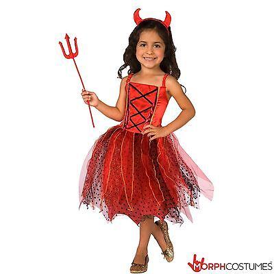 Devil Costume For Girl (Deluxe Girls Light Up Devil Halloween Fancy Dress Costume incl Horns)