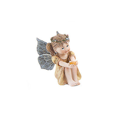 Sitting Fairy with Gem in Gold Dress - Resin - Miniature Fairy Garden Dollhouse