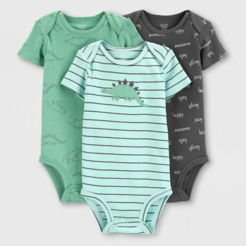 Carters Baby Boy Bodysuit Lot of 3 Dino NWT Cotton NB 3 6 12 18 24 Green Gray