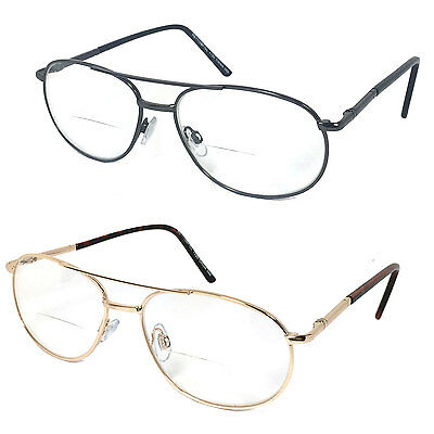 Quality Metal (Premium Quality Metal Frame Aviator Bifocal Clear Lens Reading Glasses RE69 )