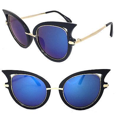 Retro UV Protect Cat Eyes Womens Aviator Fashion Sunglasses - Blue Lens C8020