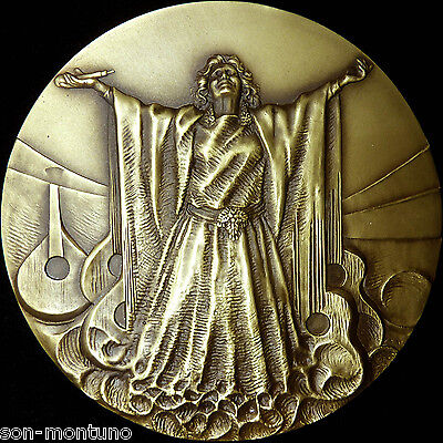 AMALIA RODRIGUEZ Bronze Medal Portugal Music Folk Woman Fado Singer Guitar 90mm for sale  Shipping to Canada