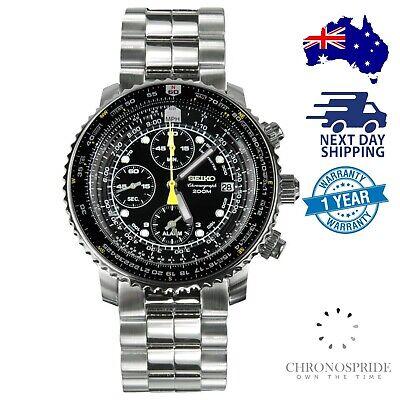 SEIKO Flightmaster Chronograph SNA411 Aviation Pilot Mens Watch Aviator Pilot Chronograph Watch