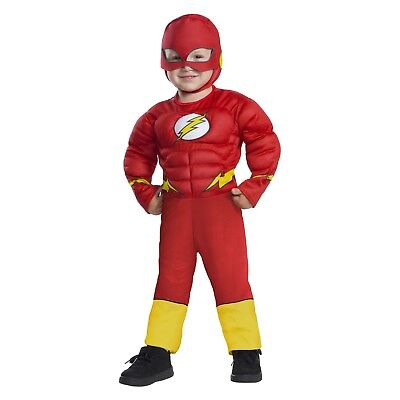 Toddler Boys 2T/3T-2/3 The Flash Muscle Chest Deluxe Halloween Costume Hat/Mask
