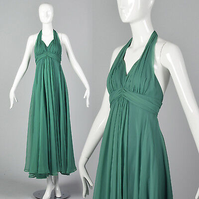 XXS 1970s Green Halter Dress VTG Theatre Costume  Long Halloween Party Dress](Halloween Costume Green Dress)