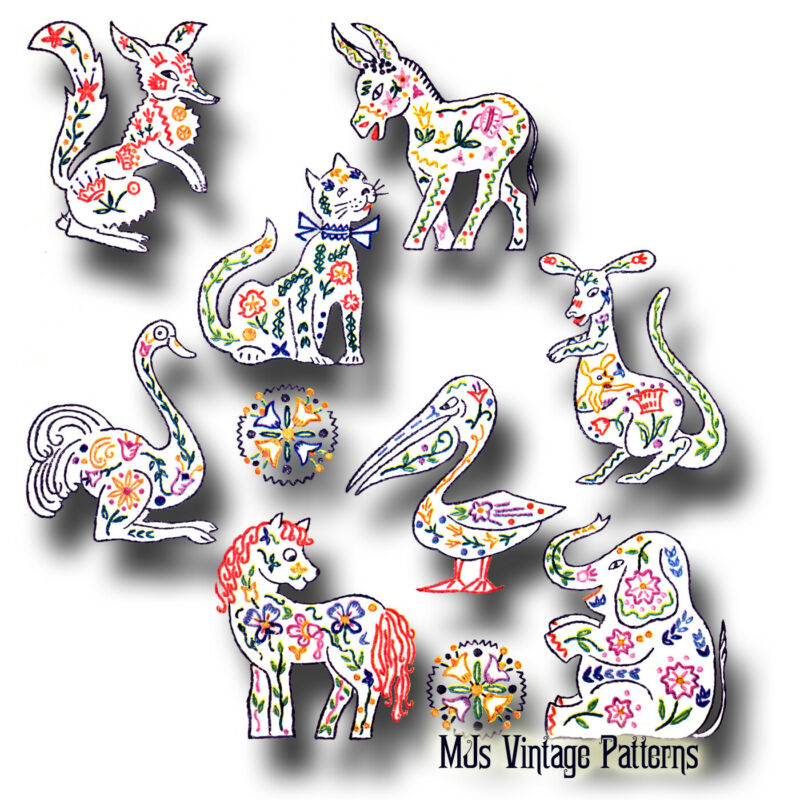 Vintage Embroidery Pattern ~ Unique Animals