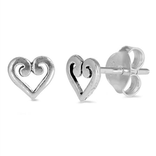 Simple Filigree Open Heart Stud 925 Sterling Silver Post Earrings