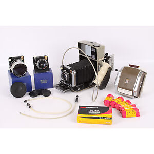 Linhof-Technika-70-2x3-Large-Format-Camera-w-120-Film-Back-3-Lenses-Grip-18233