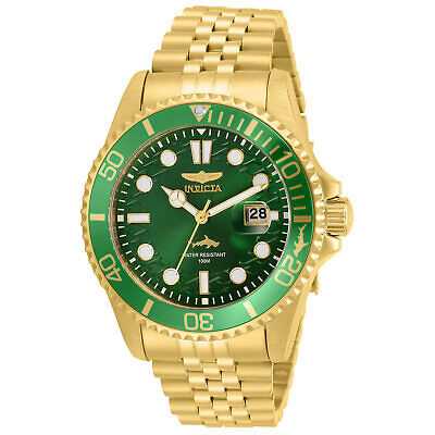 Invicta Men's Watch Pro Diver Quartz Green Dial Yellow Gold Bracelet 30615
