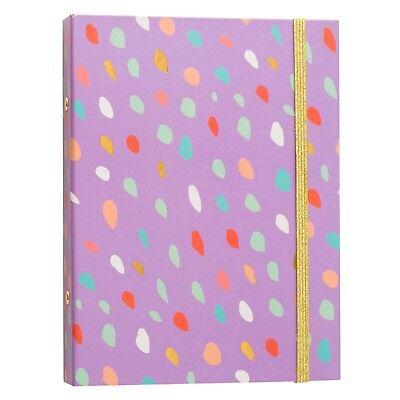 New Brit Co 1 Mini Ring Binder - Purple Confetti Diary 100 Page Capacity