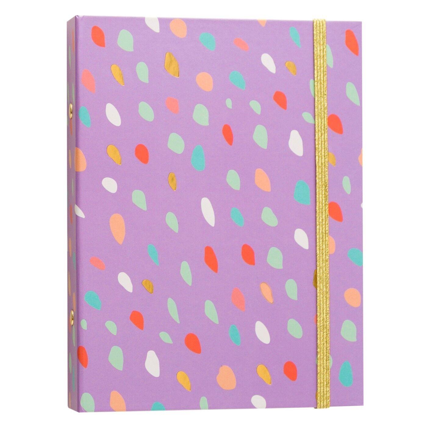"""Brit + Co® 1"""" Mini Ring Binder - Purple Confetti Diary 100"""