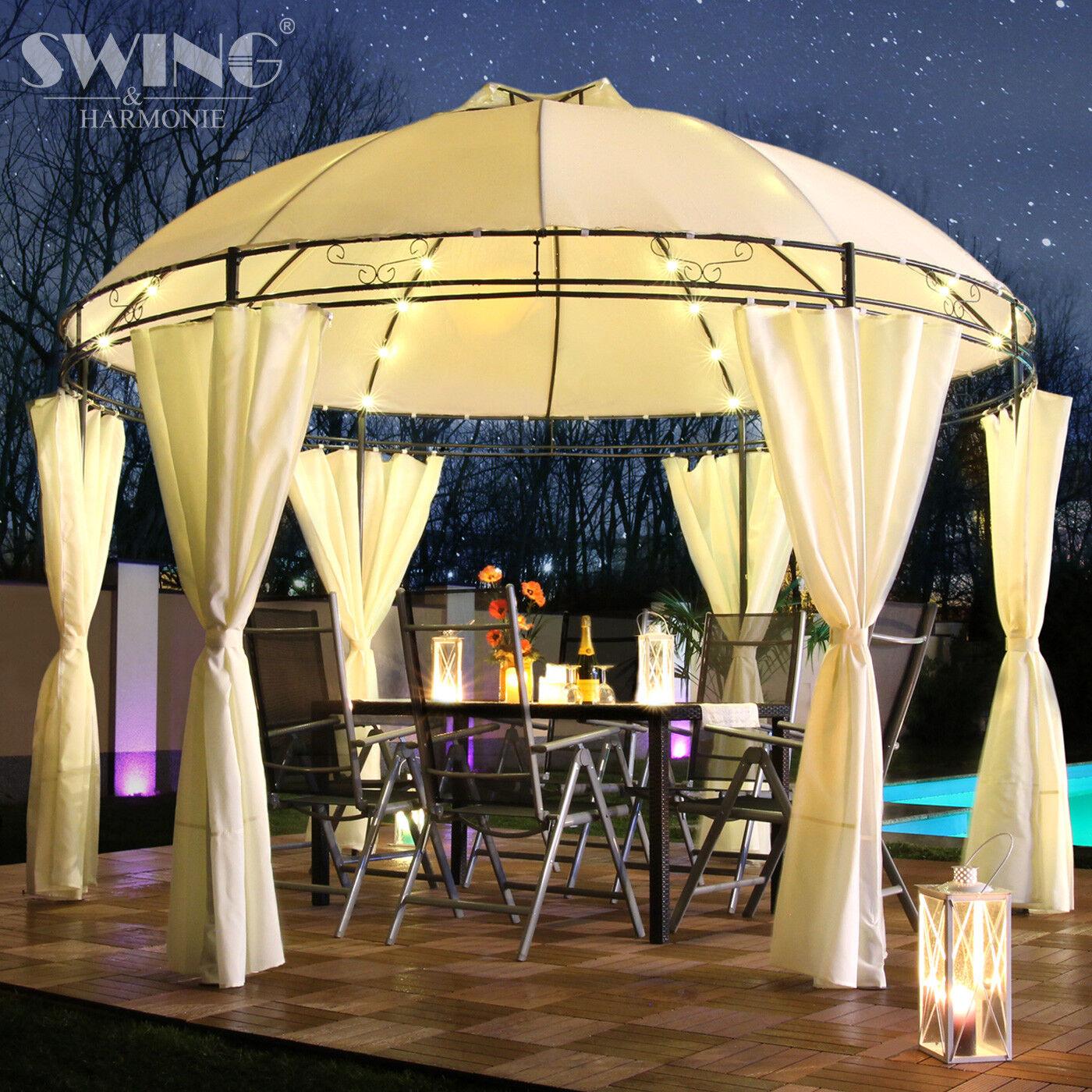 LED - Pavillon Ø 350cm Rund Garten Pavilon Runder Pavillion Partyzelt Gartenzelt