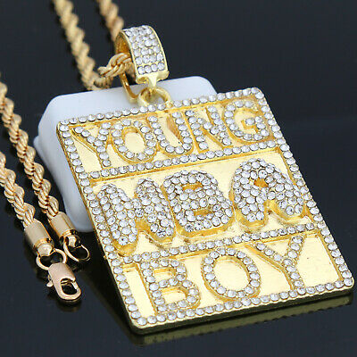 Hip Hop 14k Gold PT Iced Out Cz NBA Young boy Never Broke Pendant Rope Chain 24""