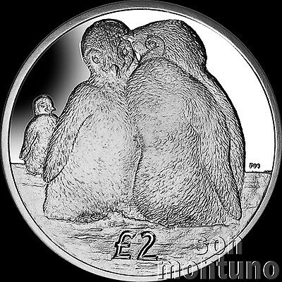 EMPEROR PENGUIN CHICKS - UNC CuNi 2 Pound Coin 2013 British Antarctic Territory