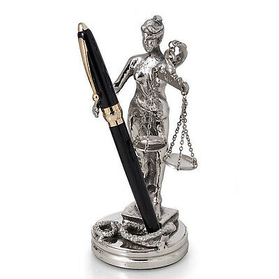 "DESK ACCESSORIES - ""LADY JUSTICE"" PEN HOLDER - PEN STAND"