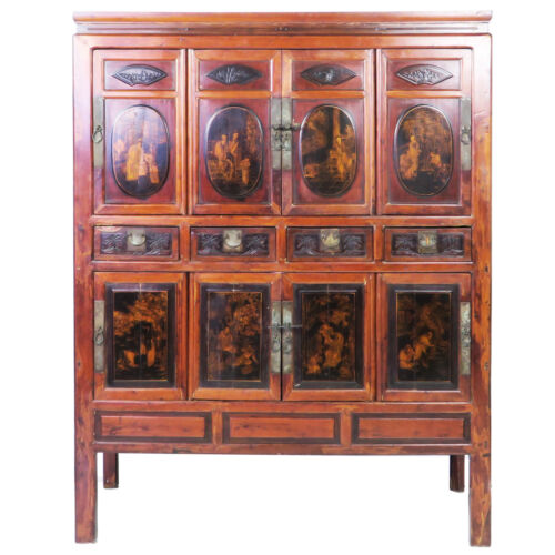 """Antique Chinese Large 8 Door Cabinet, Gilded Designs, 54"""" wide x 70"""" Tall"""