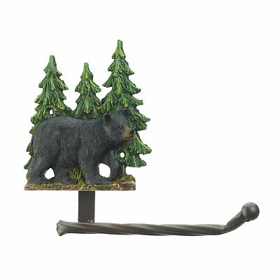 Gifts for Log Cabin Bathroom Decor Black Bear Wall Mounted Toilet Paper -