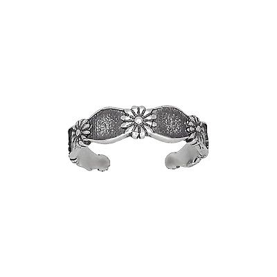 Sterling Silver .925 Multiple Flowers Toe Ring adjustable size | Made In USA