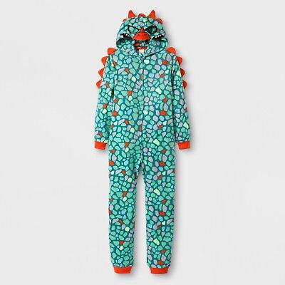 Boys Union Suit - LIZARD MONSTER Fleece HOODED Pajamas Boy Child XL Union Suit One Piece Costume
